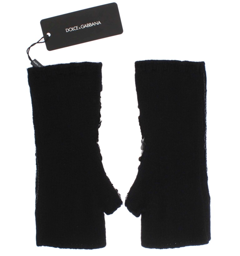 Dolce & Gabbana Black Knitted Cashmere Sequined Gloves 2
