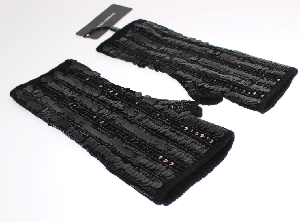 Dolce & Gabbana Black Knitted Cashmere Sequined Gloves 3