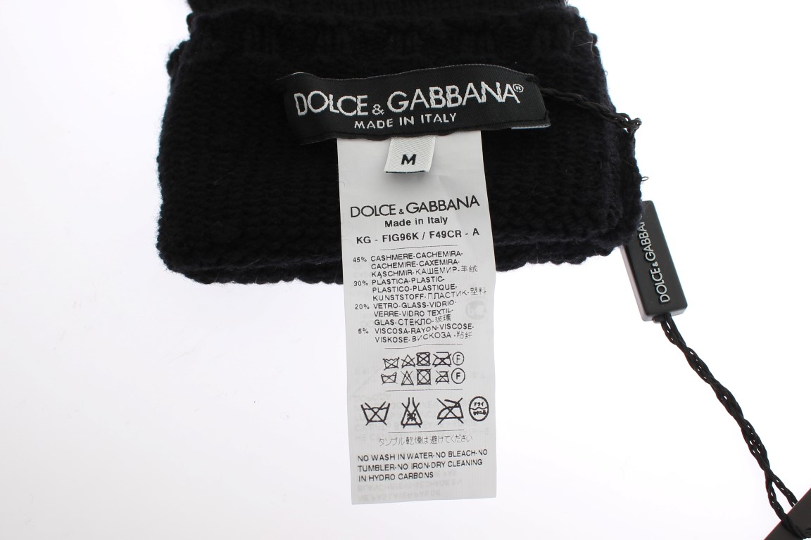 Dolce & Gabbana Black Knitted Cashmere Sequined Gloves 5