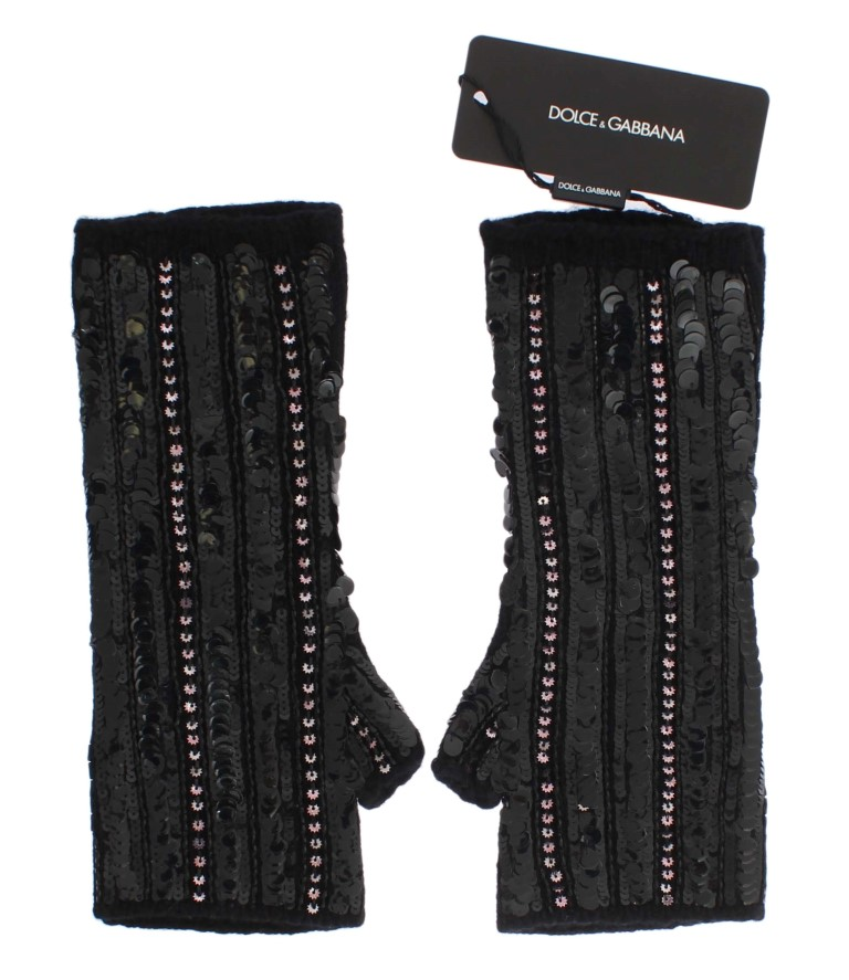 Dolce & Gabbana Black Knitted Cashmere Sequined Gloves