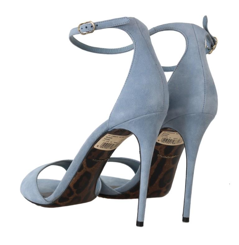 Blue Suede Stiletto Heels Sandal