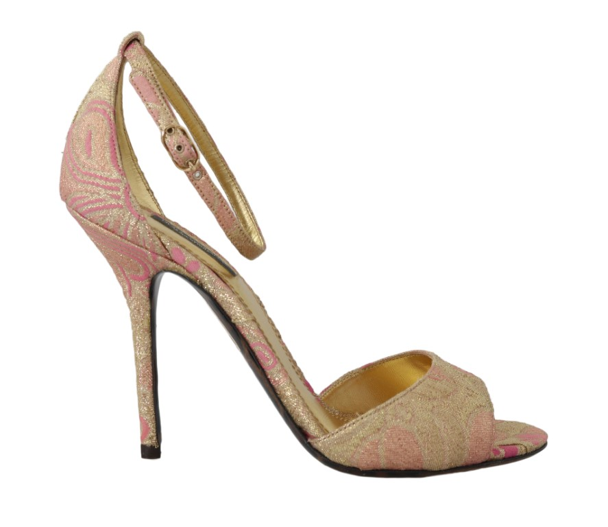 544000 shoes gold pink brocade heels sandal