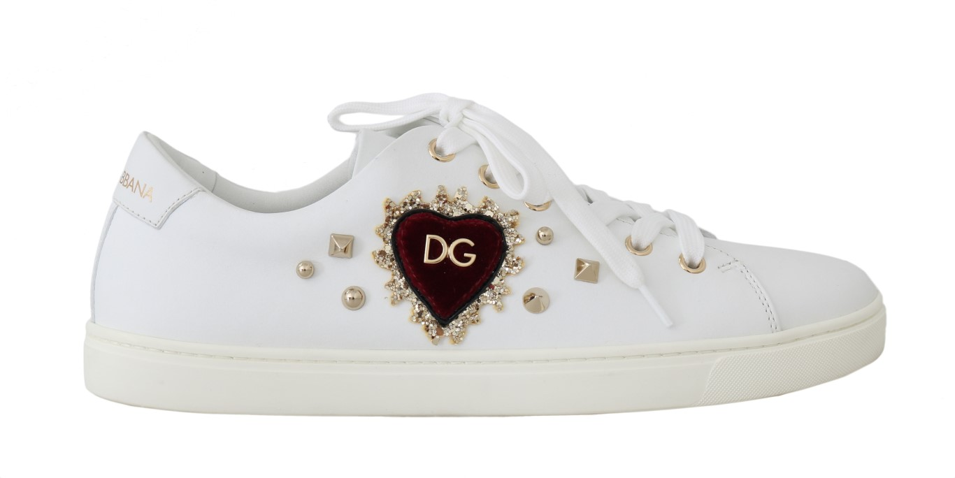 557127 white leather gold red heart sneakers