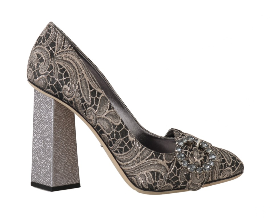 558398 gray jacquard floral crystal pumps shoes
