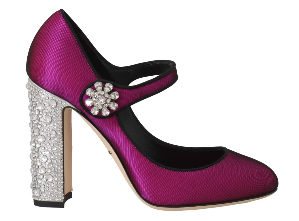 558749 pink silk crystal mary janes pumps