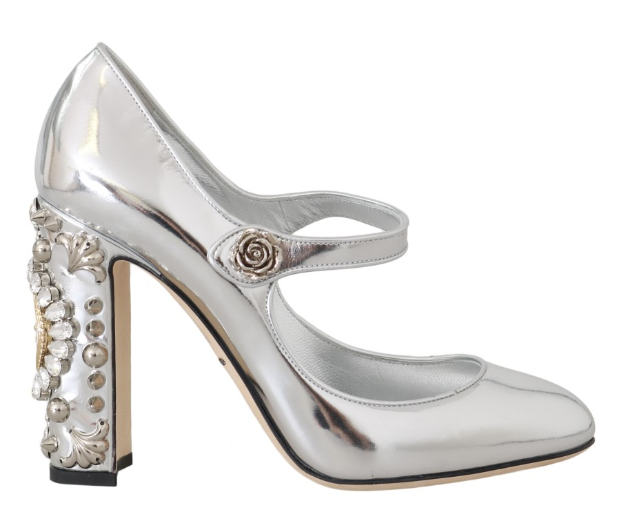 558750 silver leather heart crystal pumps