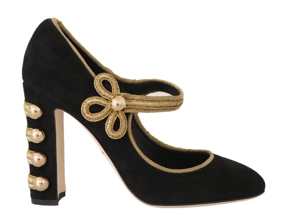 558804 black suede gold studs mary janes pumps