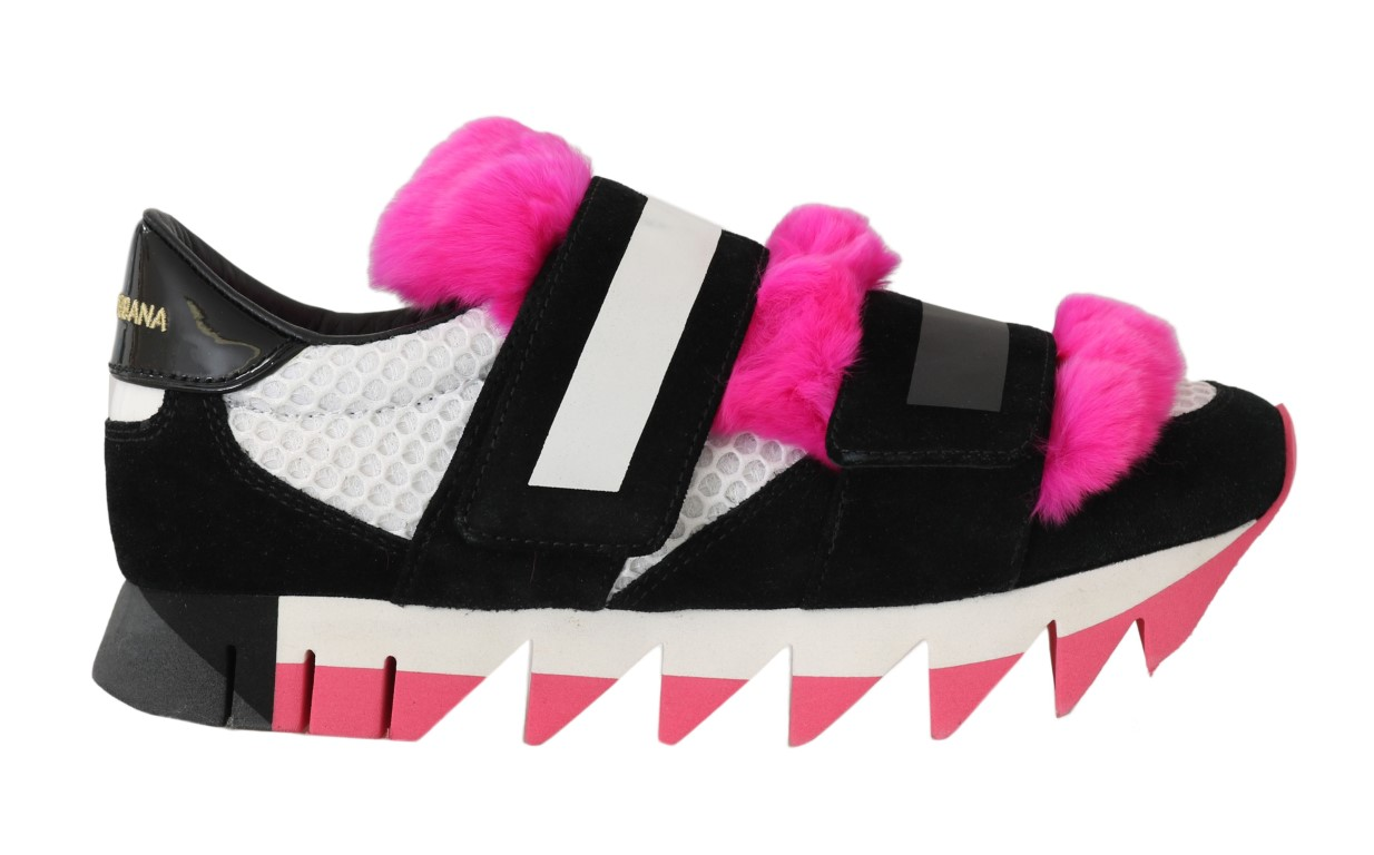 559095 black leather pink fur shoes sneakers