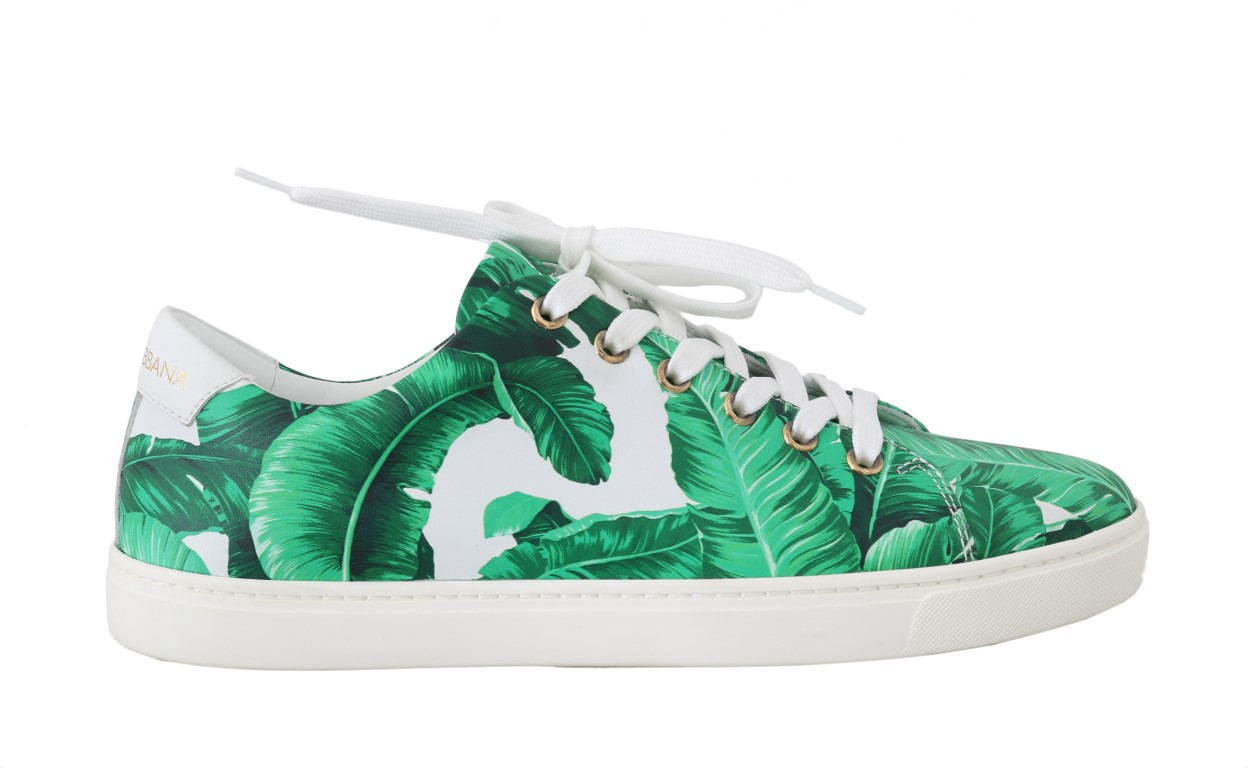 559138 leather white green banana sneakers