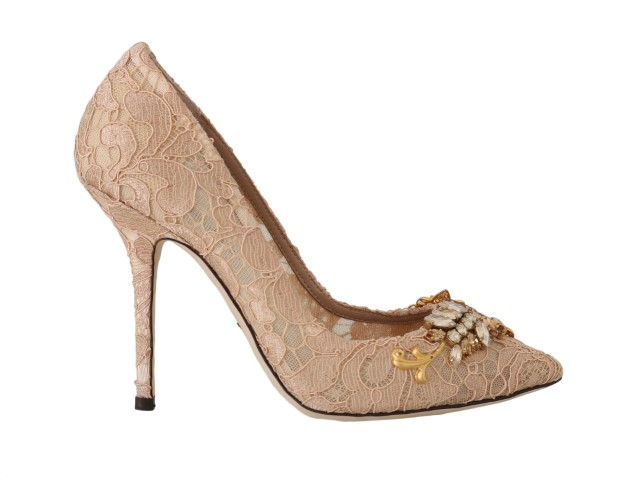 559183 beige lace taormina crystal pumps