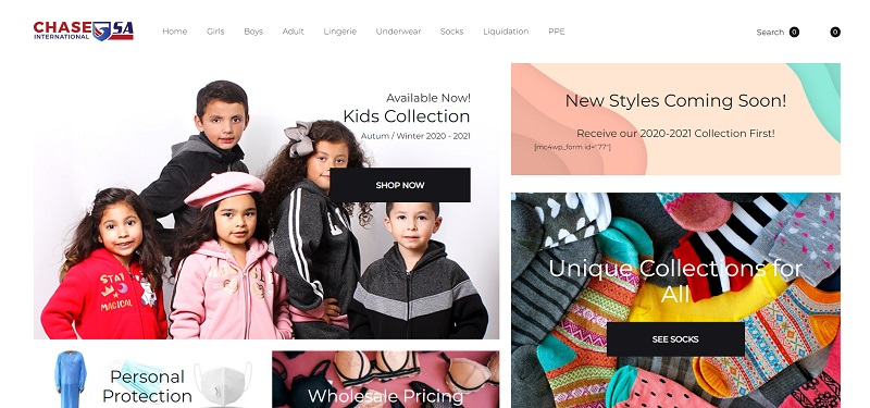 Wholesale clothing for women, men and children by Chase USA
