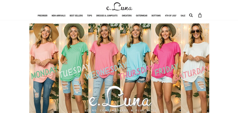 Women's clothing for your boutique is available to buy at E. Luna