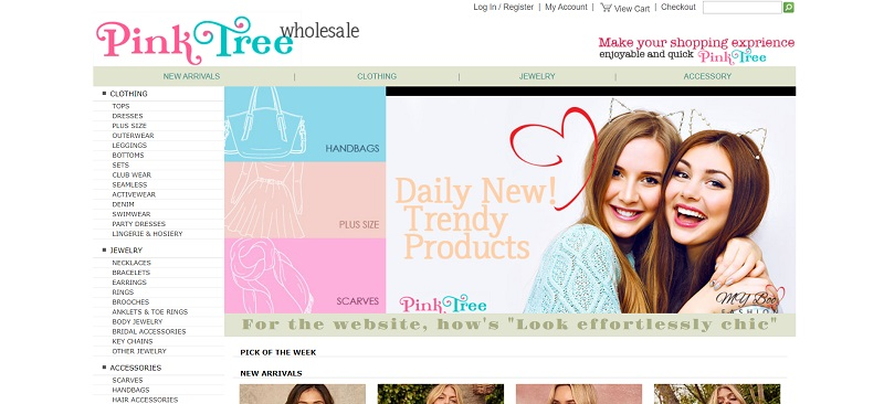 Wholesale clothing and accessories at Pink Tree